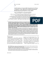 Development and Evaluation of Amoxicillin Formulations by Direct Compression