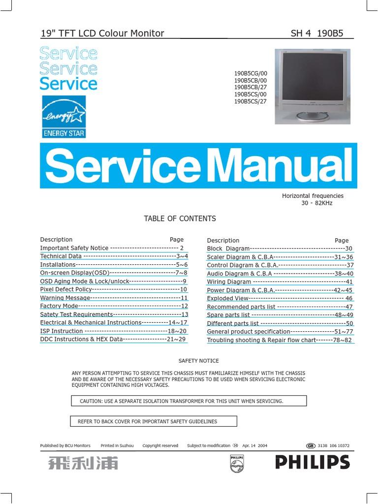 36883353-Philips-190B5-Service-Manual pdf | Pixel | Computer Monitor