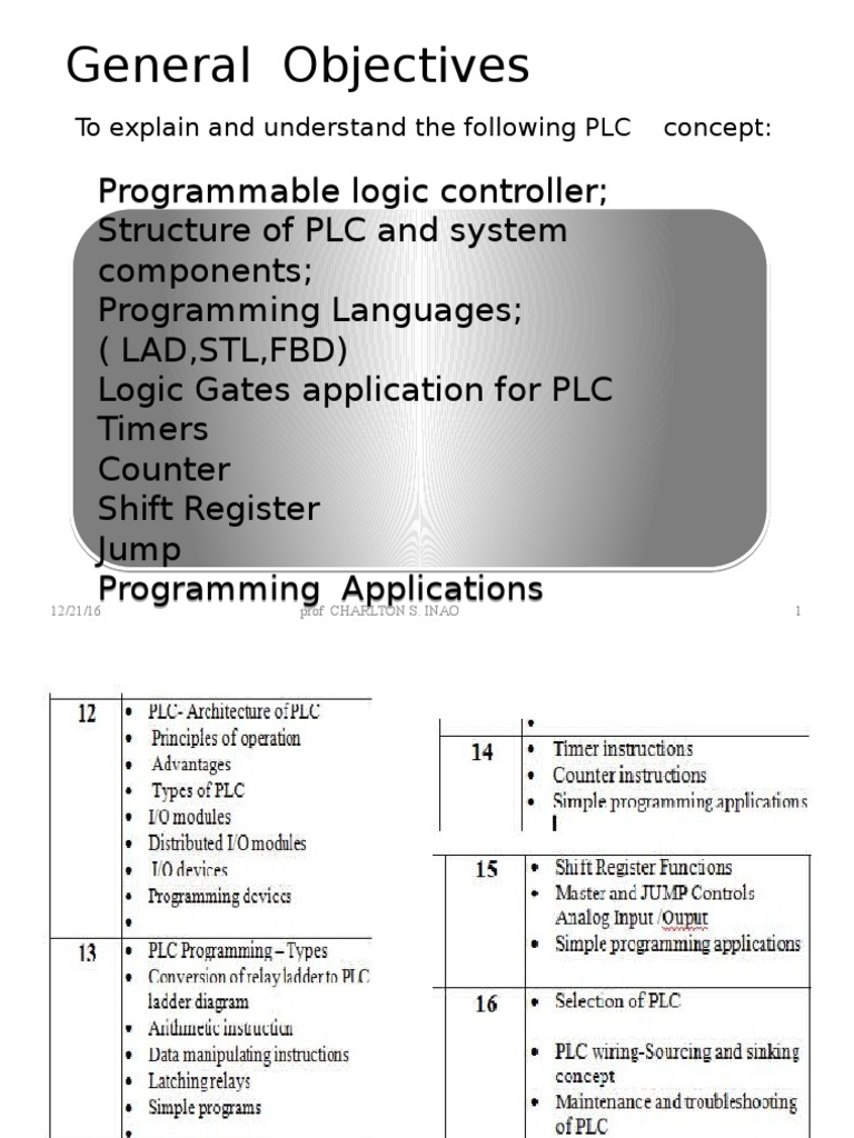 Weeks 12 16 Plc Mechatronics Pe 4030 Dec 15 2016 Programmable Logic Controller Ladder Diagram Basic Layout Electrical Engineering
