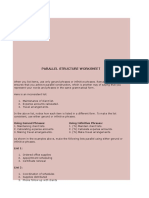 Parallel Structure Worksheet