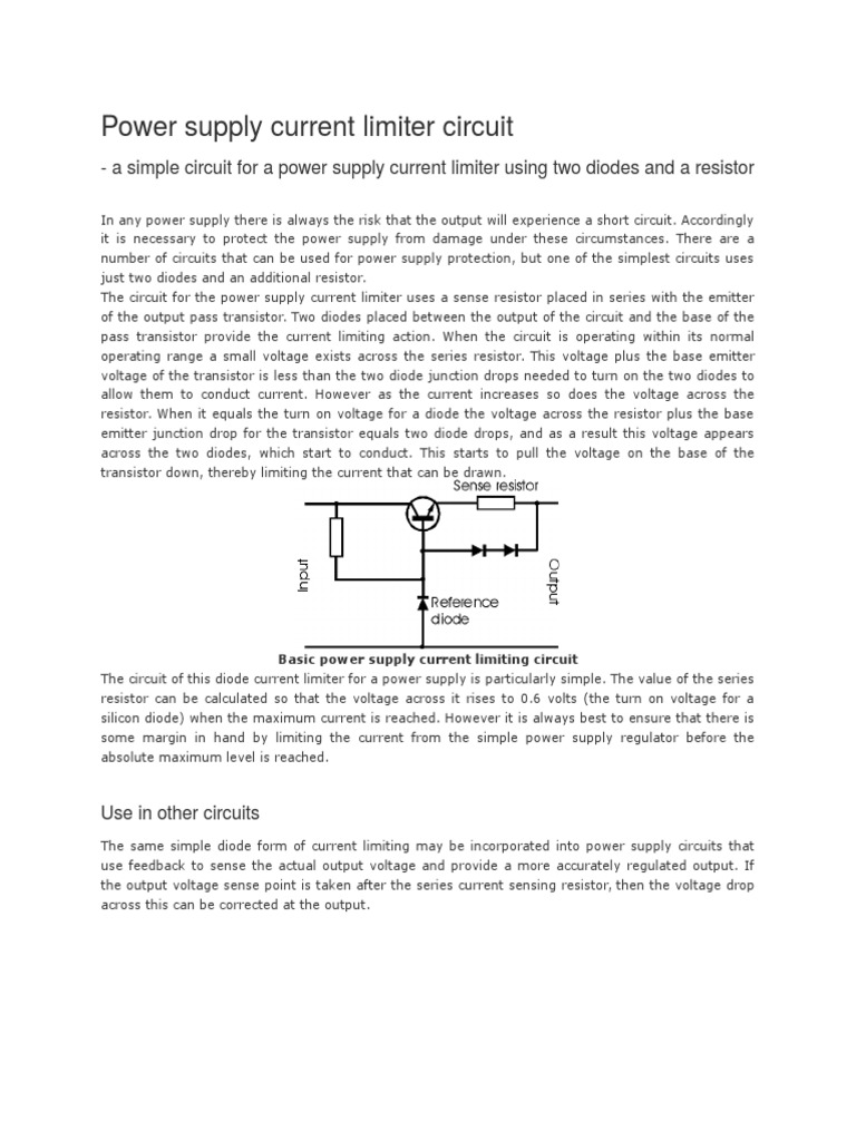 Power Supply Current Limiter Circuit Electronic Limiting Circuits