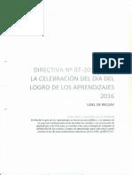 DIRECTIVA 07-2016 SOBRE EL DÍA DEL LOGRO