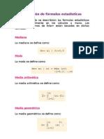 Definición de fórmulas estadísticas