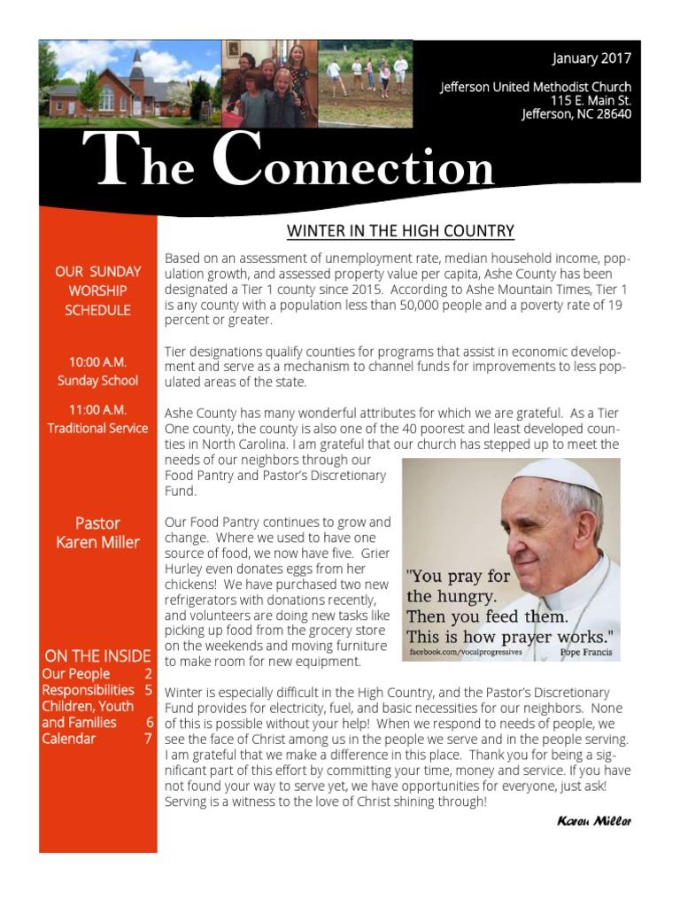 january 2017 connection newsletter Washington United Methodist