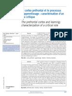 Le Cortex Préfrontal Et Le Processus d'Apprentissage Caractérisation d'Un Rôle Critique