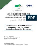 Mémoire de Recherche Compta de Gestion Dans Les Communes F Letort Juin2012