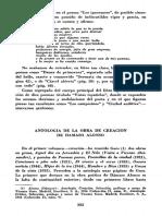 Antologia de La Obra de Creacion de Damaso Alonso