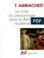ABIRACHED, R. - La Crise Du Personnage Dans Le Theatre Moderne