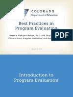 Best Practices in Program Evaluation