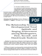 The Relationship Between Developmental Tonal Aptitude and Singing Achievement Among Kindergarten, First-, Second-, And Third-Grade Students