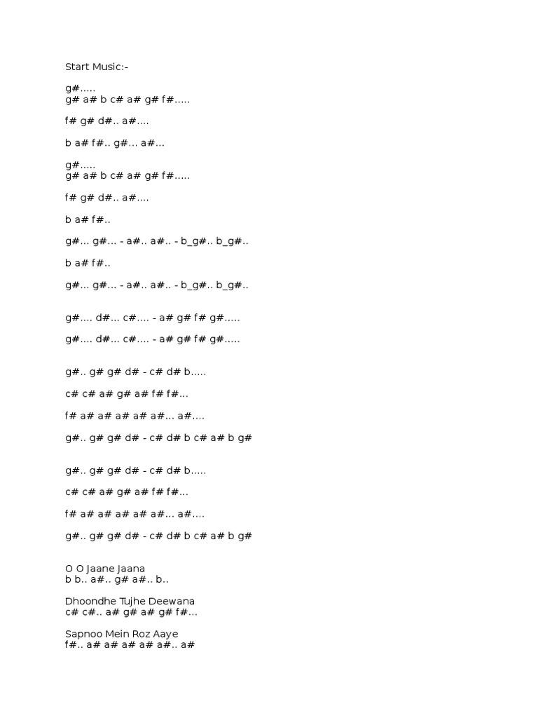 O O Jaane Jaana Piano Notes