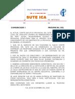 Comunicado Del Comité Ejecutivo Provincial Del SUTE-ICA