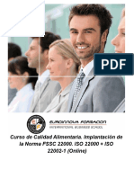 Curso de Calidad Alimentaria. Implantación de la Norma FSSC 22000. ISO 22000 + ISO 22002-1 (Online)
