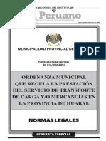Ordenanza que regula la prestación del servicio de transporte de carga y/o mercancías en la provincia de Huaral