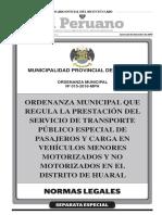 Ordenanza Municipal que regula la prestación del Servicio de Transporte Público Especial de Pasajeros y Carga en Vehículos Menores Motorizados y No Motorizados en el Distrito de Huaral