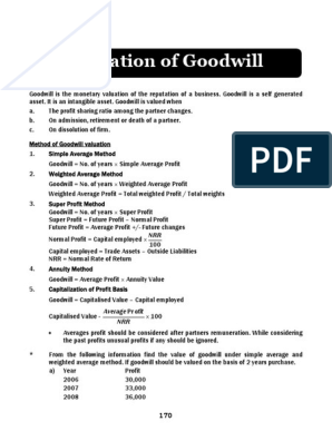 19+Valuation+of+Goodwill | Goodwill (Accounting) | Valuation