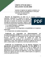 Reactivo Vigilancia Decreto 3770 de 2004 y Resolucion 132 de 2006