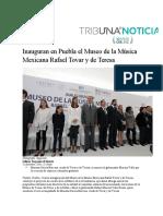 22.12.2016 Puebla On line - RMV Inauguran en Puebla el Museo de la Música Mexicana Rafael Tovar y de Teresa