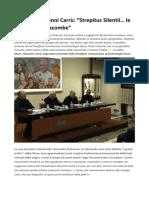 "Monsignor Gianni Carrù ""Strepitus Silentii… Le Notti Delle Catacombe"""