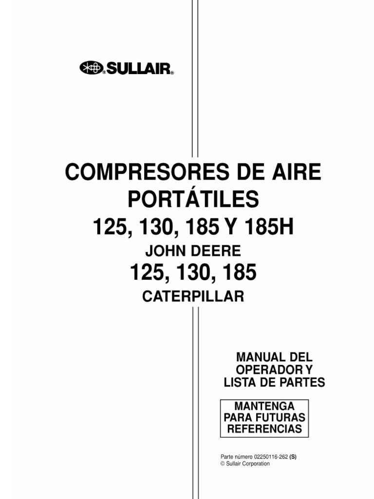 MANUAL DE OPERACION Y MANTENIMIENTO COMPRESOR SULLAIR 185