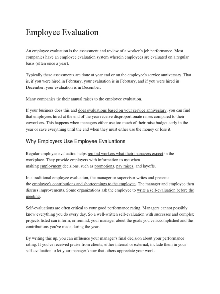 sample employee evaluations