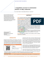 Study of the Coagulation Process in Wastewater Treatment of Dairy Industries