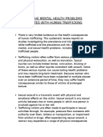 risk in mental health problems associated with human trafficking.