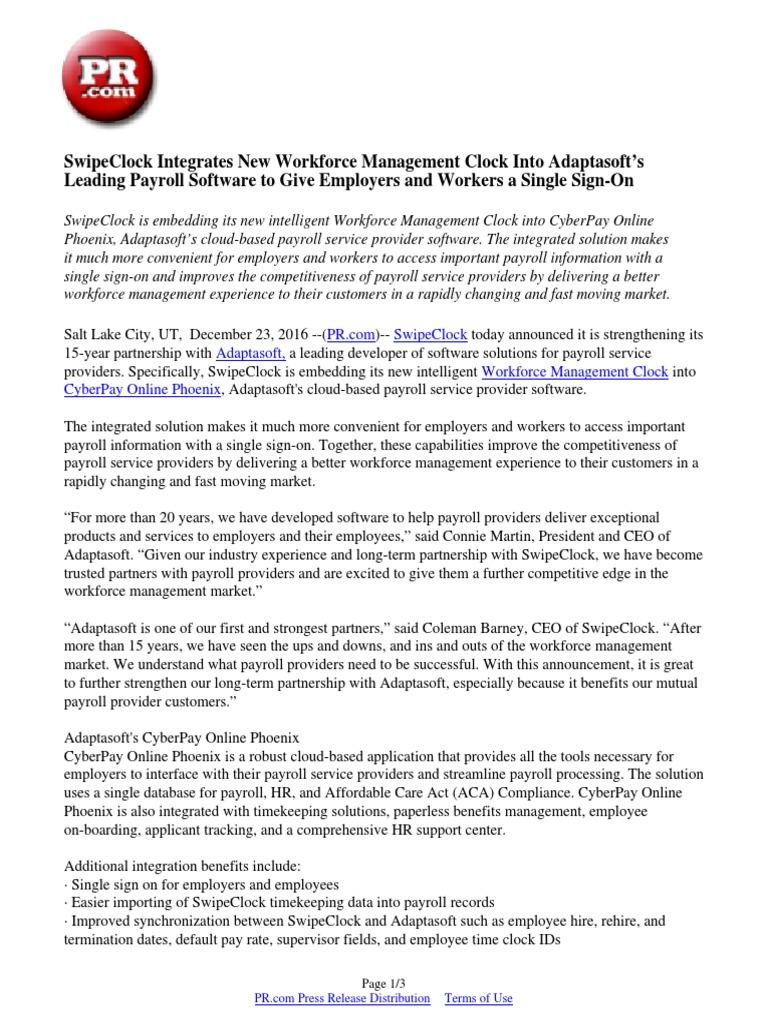 SwipeClock Integrates New Workforce Management Clock Into