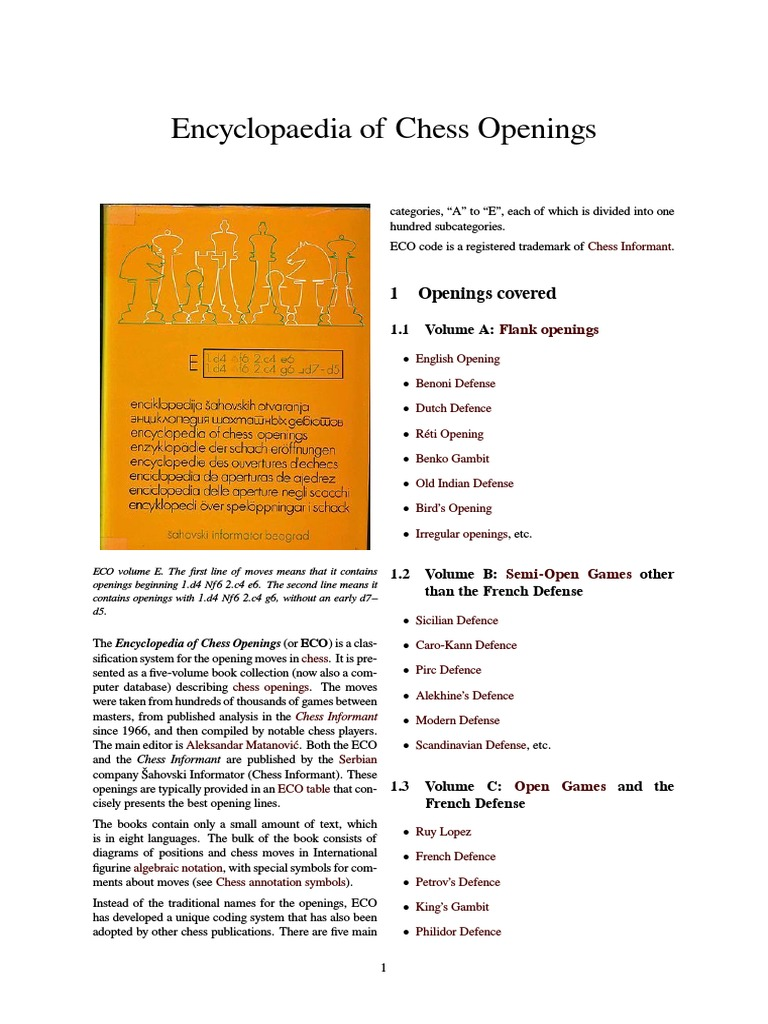 Encyclopaedia Of Chess Openings Chess Openings Competitive Games