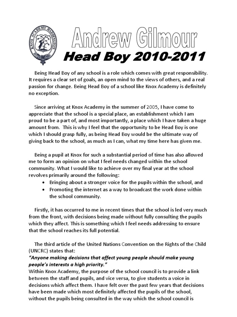 How to write an application letter for head boy