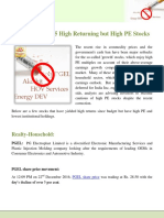 Beware of These 5 High Returning but High PE Stocks
