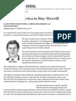Bank of America to Buy Merrill - WSJ