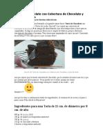 Torta de Chocolate Con Cobertura de Chocolate y Dulce de Leche y Pollos