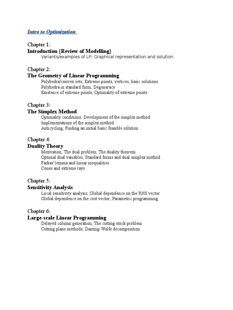 Comprehensive Exam Comp Courses Linear Programming Matrix