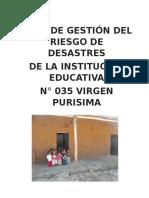 Plan de Gestión Del Riesgo de Desastres de La Institución Educativa 2015