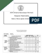 KKM MTK Kelas 2