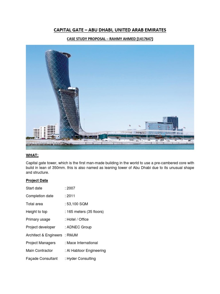 Case Study Proposal_Capital Gate_Rahmy Ahmed | Engineering