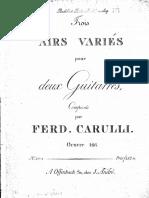CARULLI - Op 166 Trois Airs Variés Pour Deux Guitarres (1823) (Two Guitars - Due Chitarre)