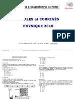 Annales Physique 2010 Et Corrige