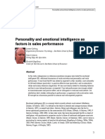 Personality and Emotional Intelligence as Factors in Sales Performance (in a Telecommunications Company)
