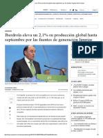 Iberdrola Eleva Un 2,1% Su Producción Global Hasta Septiembre Por Las Fuentes de Generación Limpias