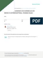 Clave de Los Generos de Hormigas en Mexico Hymenop