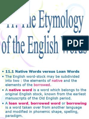 English Lexicology- Etymology of English words | Latin