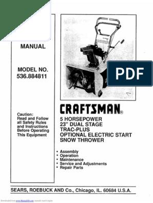 536884811 Sears Snowblower Noma Brute 523 | Gasoline | Belt (Mechanical)Scribd
