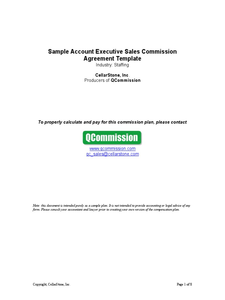 sales commision agreement template - sample staffing account executive sales commission