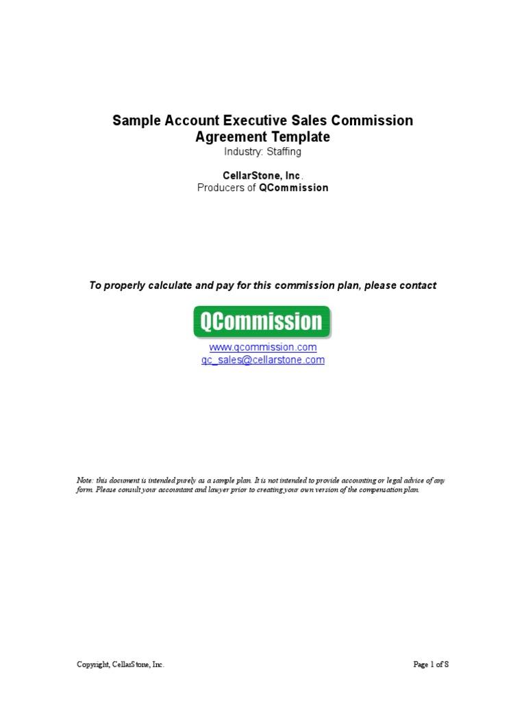 sample staffing account executive sales commission agreement template gross margin revenue. Black Bedroom Furniture Sets. Home Design Ideas
