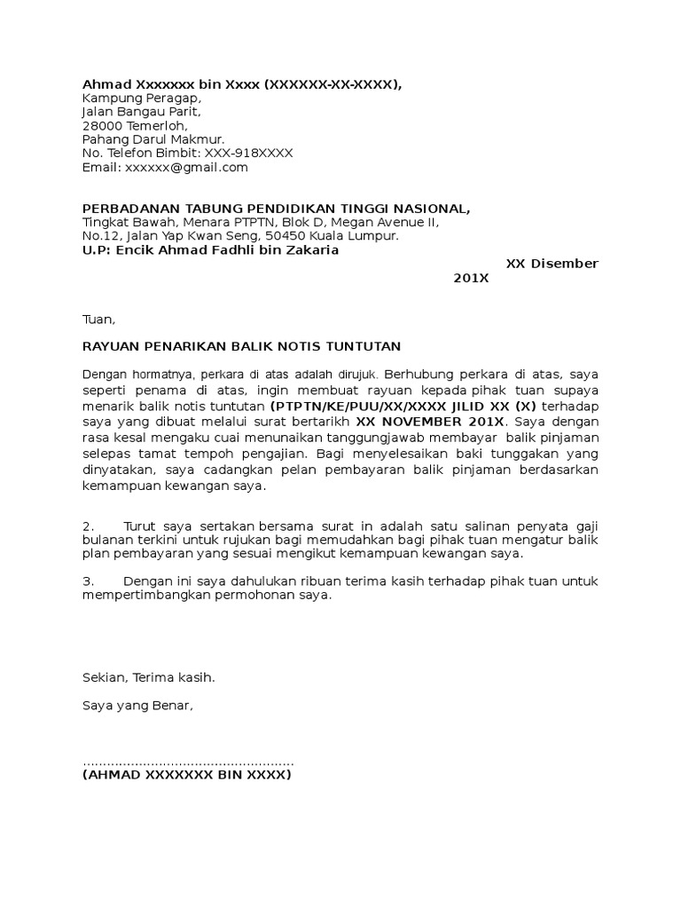 Contoh Surat Tuntutan Bayaran Balik Gaji