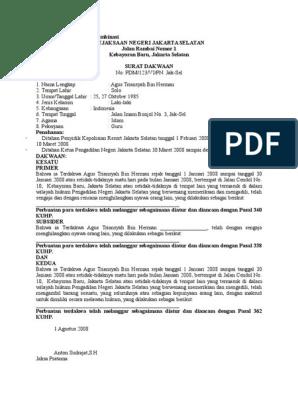 Contoh Surat Dakwaan Kombinasi
