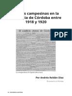 Luchas campesinas en la provincia de Córdoba entre 1918 y 1920