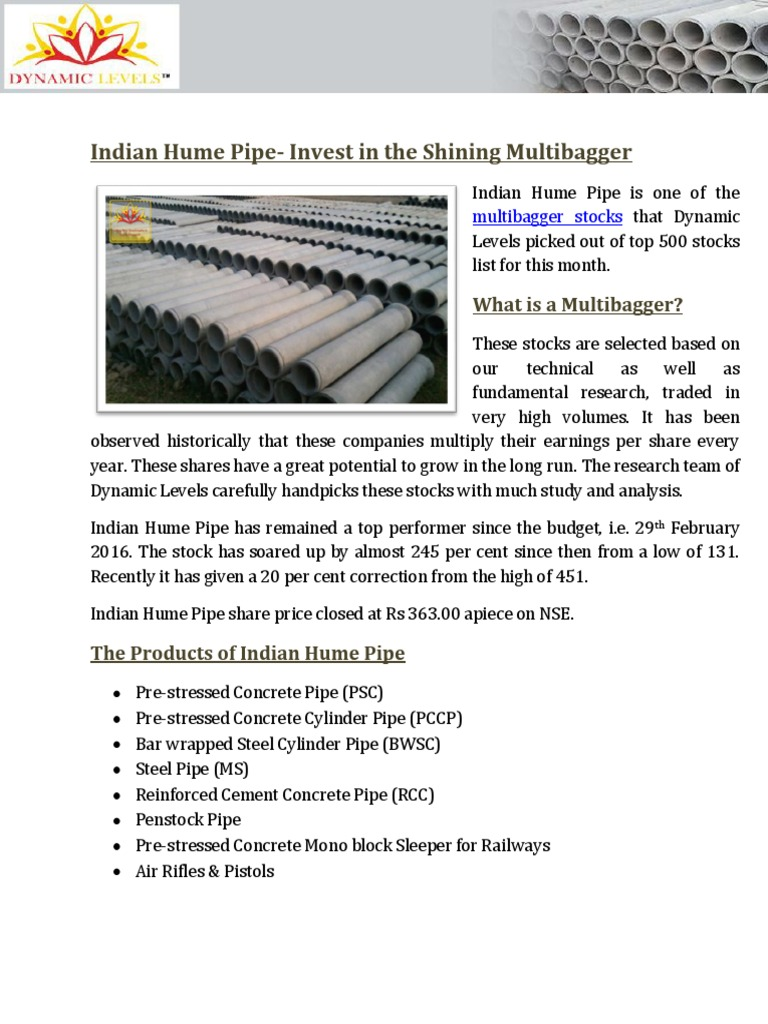 Indian Hume Pipe Invest in the Shining Multibagger | Financial